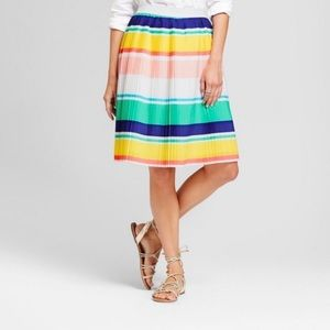 NWT Colorful pleated striped A-line skirt XS